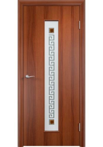 Двери Верда С-17 Итальянский орех Стекло Сатинато с фьюзингом квадрат