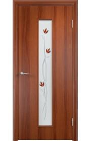Двери Верда С-17 Итальянский орех Стекло Сатинато с фьюзингом тюльпан