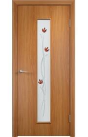 Двери Верда С-17 Миланский орех Стекло Сатинато с фьюзингом тюльпан