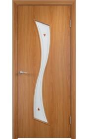 Двери Верда С-19 Миланский орех Стекло Сатинато с фьюзингом