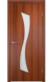 Двери Верда С-19 Итальянский орех Стекло Сатинато