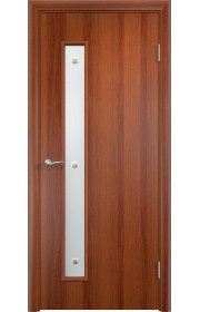 Двери Верда С-28 Итальянский орех Стекло Сатинато с фьюзингом