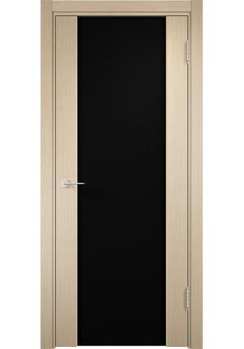Двери Верда Сан-Ремо 01 Беленый дуб Стекло Черный Триплекс