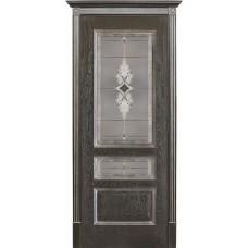 Двери Вист Вена Черная Патина стекло Витраж