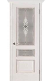 Двери Вист Вена Белая патина стекло Витраж