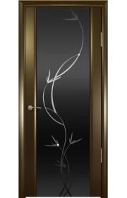 Дверь Океан Шторм 3 Венге Стекло темное Растение