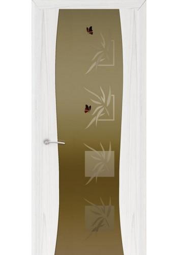 Двери Океан Буревестник-2 Бабочки Ясень белый жемчуг Стекло тонированное