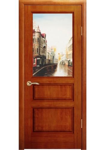 Дверь Океан Марсель Красное дерево стекло Гранж