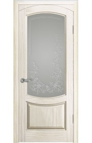 Дверь Океан Лувр Ясень белый жемчуг Стекло белое