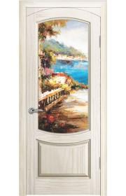 Дверь Океан Лувр Ясень белый жемчуг стекло Новелла