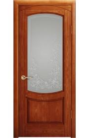 Дверь Океан Лувр Красное дерево стекло Белое