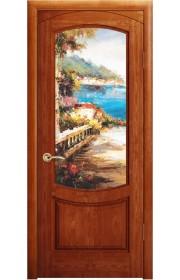 Дверь Океан Лувр Красное дерево стекло Новелла