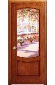 Дверь Океан Лувр Красное дерево стекло Элегия