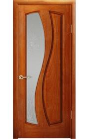 Дверь Океан Шарм Красное дерево стекло Белое