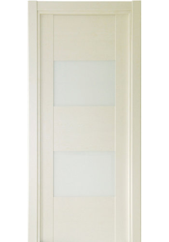 Двери Статус 221 Дуб белый стекло Лакобель белое