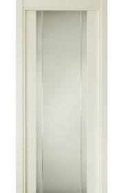 Двери Статус 332 Дуб белый стекло с Вертикальной гравировкой
