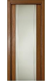 Двери Статус 332 Орех стекло с Вертикальной гравировкой