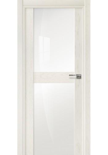 Двери Статус 422 Дуб белый стекло Лакобель белое