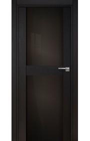 Двери Статус 422 Дуб черный стекло Лакобель черное