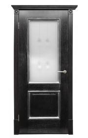 Дверь Халес Триест черный с серебром ДО