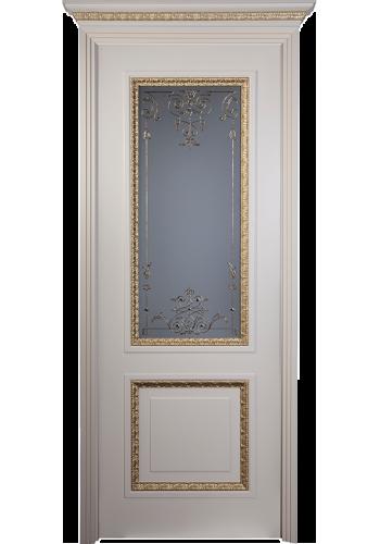 Дверь Халес Аура Слоновая кость патина со Стеклом