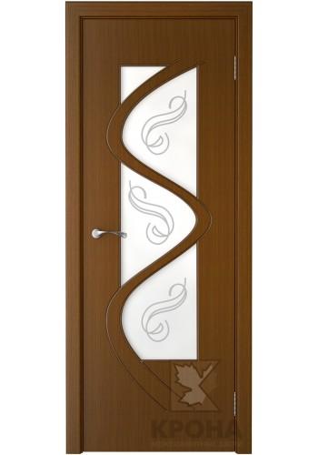 Дверь Крона Вега Орех стекло матовое с рисунком