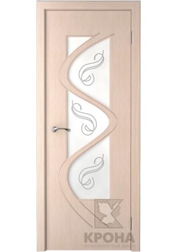 Дверь Крона Вега Беленый дуб стекло матовое с рисунком
