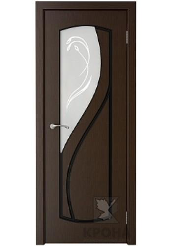 Дверь Крона Венера Венге стекло матовое с рисунком