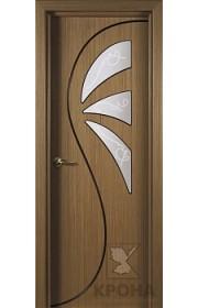 Дверь Крона Иллюзия Орех стекло матовое с рисунком
