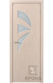 Дверь Крона Иллюзия Беленый дуб стекло матовое с рисунком