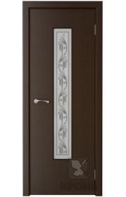 Дверь Крона Карат Венге стекло белое с рисунком