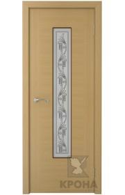 Дверь Крона Карат Дуб стекло белое с рисунком
