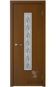 Дверь Крона Карат Орех стекло белое с рисунком