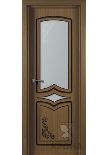 Дверь Крона Карина Орех стекло матовое с рисунком
