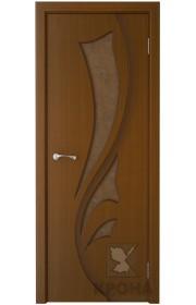 Дверь Крона Лидия Орех стекло дельта-бронза