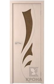 Дверь Крона Лидия Беленый дуб стекло дельта-бронза