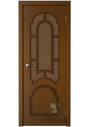 Дверь Крона Соната Орех стекло дельта-бронза