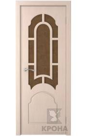 Дверь Крона Соната Беленый дуб стекло дельта-бронза