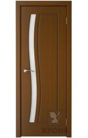 Дверь Крона София Орех стекло белое матовое