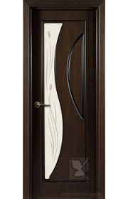 Дверь Крона Стелла Венге стекло матовое с рисунком
