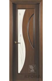 Дверь Крона Стелла Орех стекло матовое с рисунком
