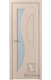 Дверь Крона Стелла Беленый дуб стекло матовое с рисунком
