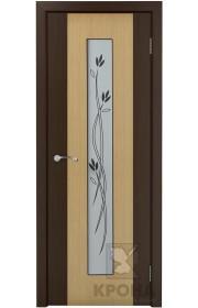 Дверь Крона Элит Дуб стекло белое с рисунком