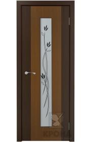 Дверь Крона Элит Орех стекло белое с рисунком