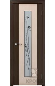 Дверь Крона Элит Беленый дуб стекло белое с рисунком