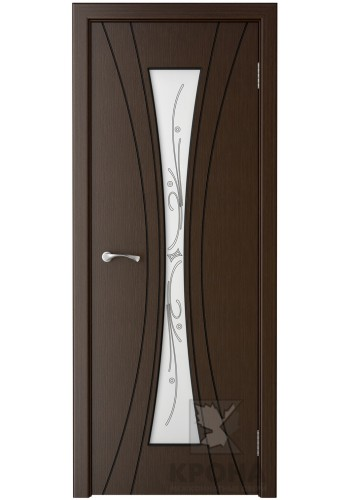Дверь Крона Эстет Венге стекло белое с рисунком