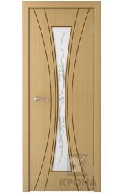 Дверь Крона Эстет Дуб стекло белое с рисунком