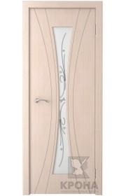 Дверь Крона Эстет Беленый дуб стекло белое с рисунком