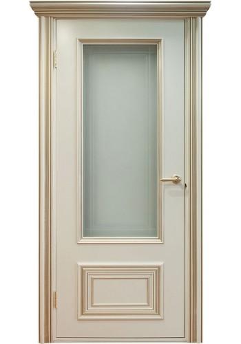 Двери Поло Молочный с золотом Остекленные