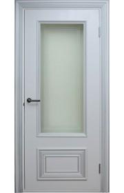 Двери Поло Белые с серебром Остекленные